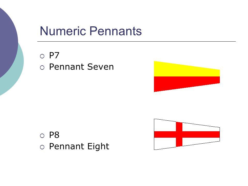 Numeric Pennants  P7  Pennant Seven  P8  Pennant Eight