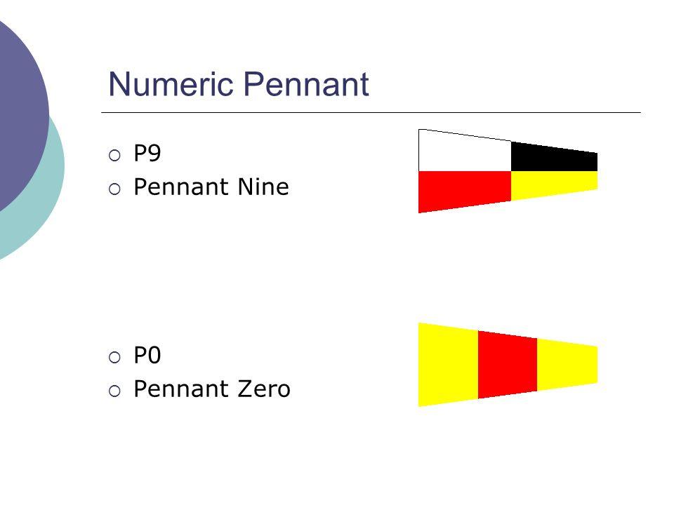 Numeric Pennant  P9  Pennant Nine  P0  Pennant Zero