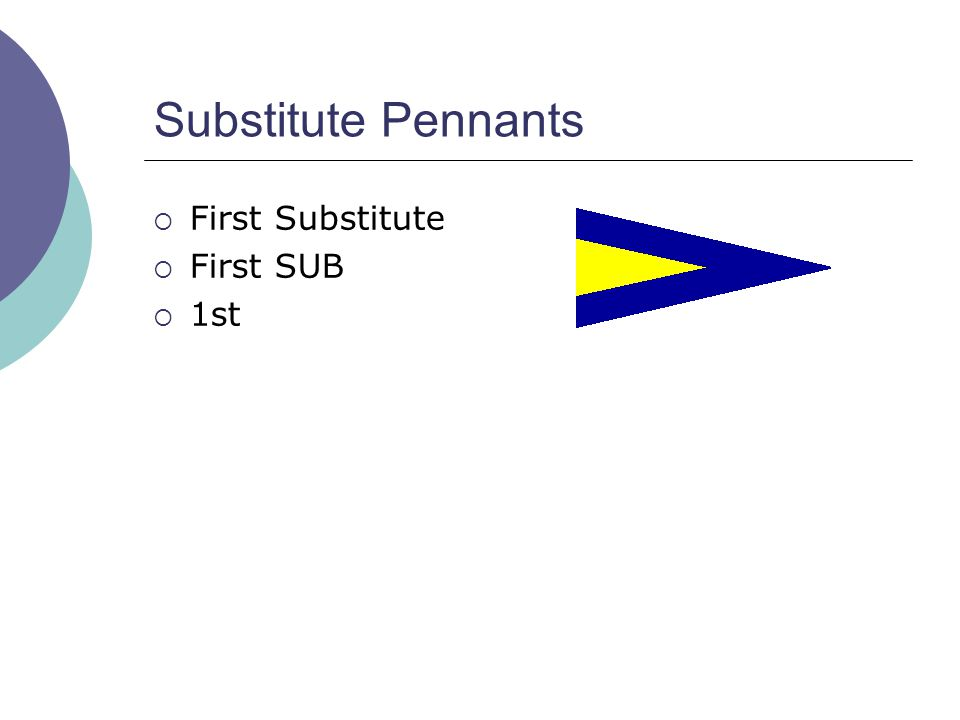 Substitute Pennants  First Substitute  First SUB  1st