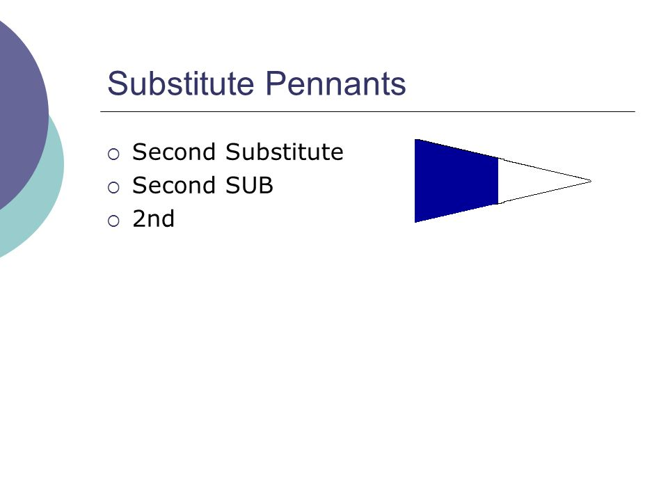 Substitute Pennants  Second Substitute  Second SUB  2nd
