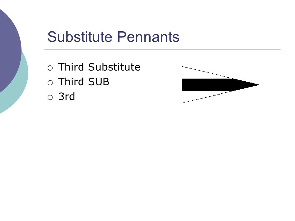 Substitute Pennants  Third Substitute  Third SUB  3rd