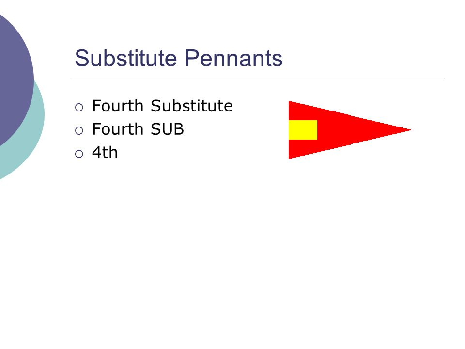 Substitute Pennants  Fourth Substitute  Fourth SUB  4th