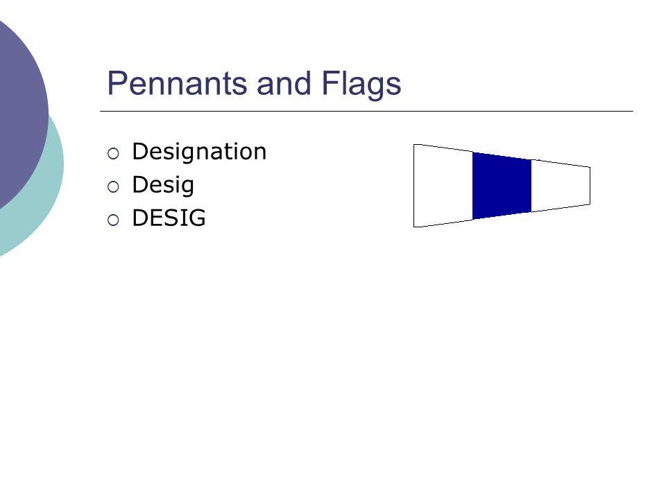 Pennants and Flags  Designation  Desig  DESIG
