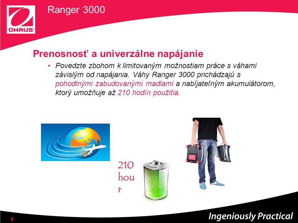 Ranger 3000 Prenosnosť a univerzálne napájanie Povedzte zbohom k limitovaným možnostiam práce s váhami závislým od napájania. Váhy Ranger 3000 prichád