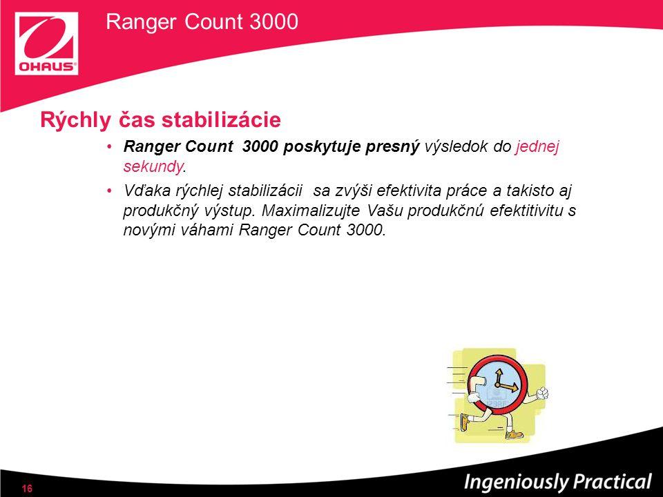Ranger Count 3000 Rýchly čas stabilizácie Ranger Count 3000 poskytuje presný výsledok do jednej sekundy. Vďaka rýchlej stabilizácii sa zvýši efektivit