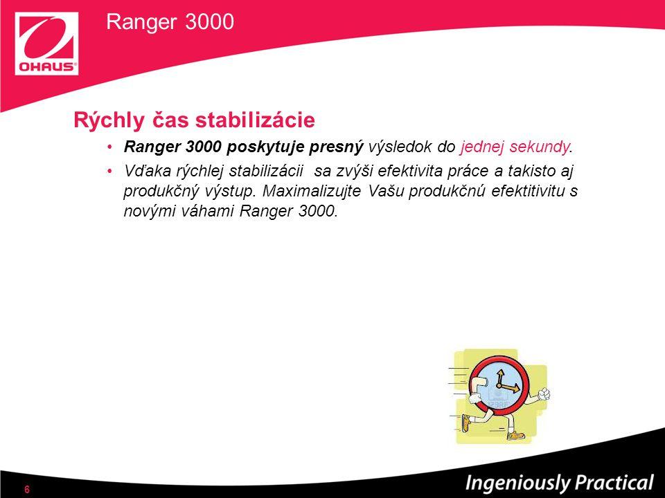 Ranger 3000 Rýchly čas stabilizácie Ranger 3000 poskytuje presný výsledok do jednej sekundy. Vďaka rýchlej stabilizácii sa zvýši efektivita práce a ta