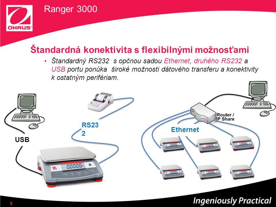 Štandardná konektivita s flexibilnými možnosťami Štandardný RS232 s opčnou sadou Ethernet, druhého RS232 a USB portu ponúka široké možnosti dátového t