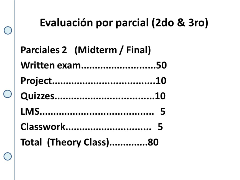 Evaluación por parcial (2do & 3ro) Parciales 2 (Midterm / Final) Written exam...........................50 Project.....................................10 Quizzes....................................10 LMS.........................................