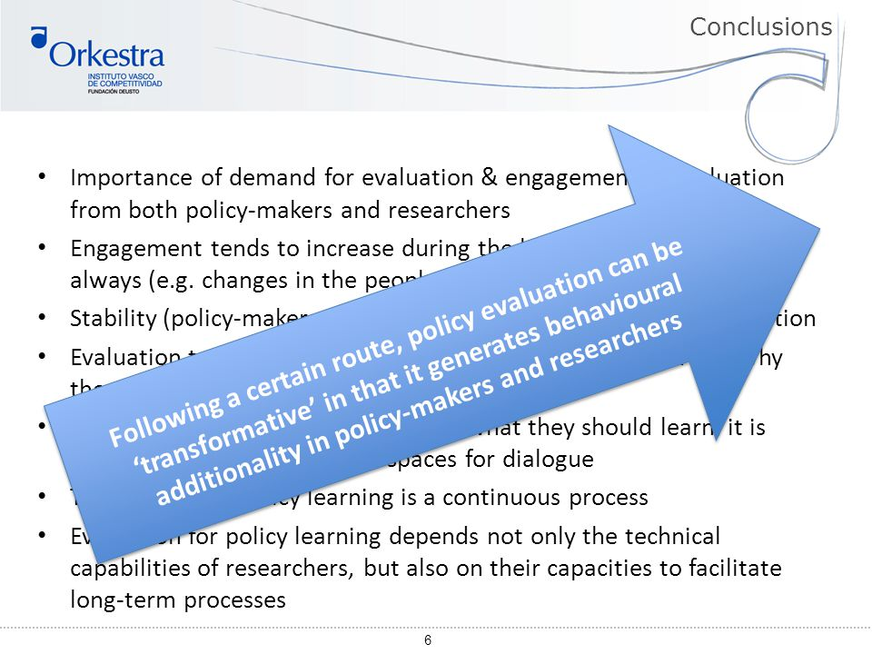 6 Importance of demand for evaluation & engagement in evaluation from both policy-makers and researchers Engagement tends to increase during the learn