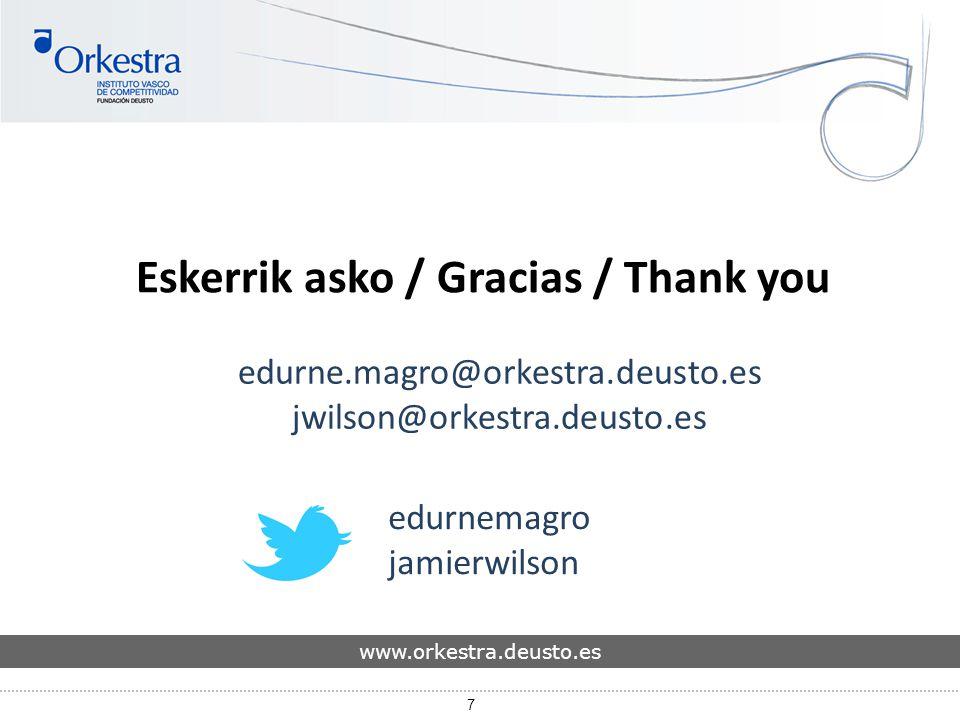 7 Eskerrik asko / Gracias / Thank you edurne.magro@orkestra.deusto.es jwilson@orkestra.deusto.es www.orkestra.deusto.es edurnemagro jamierwilson