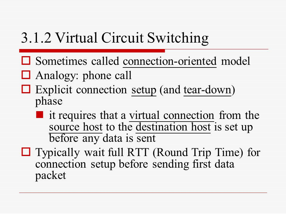 3.1.2 Virtual Circuit Switching  Sometimes called connection-oriented model  Analogy: phone call  Explicit connection setup (and tear-down) phase i