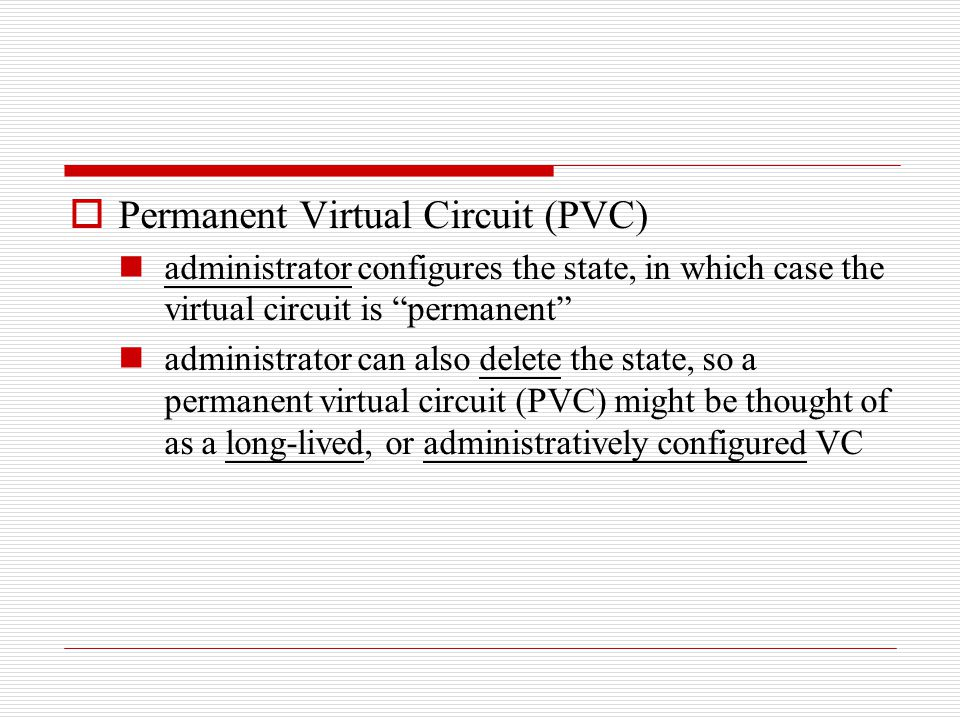 " Permanent Virtual Circuit (PVC) administrator configures the state, in which case the virtual circuit is ""permanent"" administrator can also delete t"