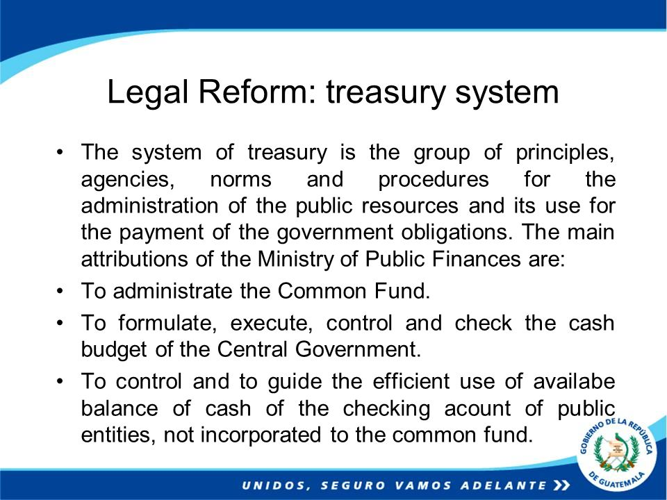 Legal Reform: treasury system The system of treasury is the group of principles, agencies, norms and procedures for the administration of the public r