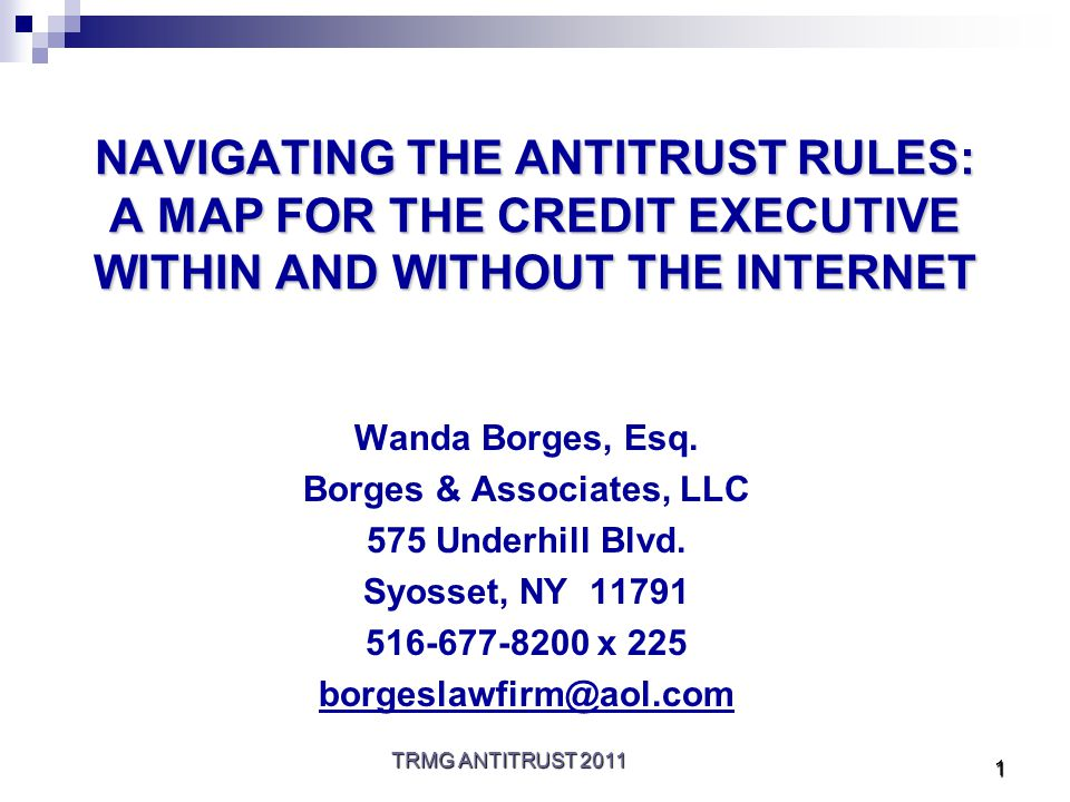 TRMG ANTITRUST 2011 1 NAVIGATING THE ANTITRUST RULES: A MAP FOR THE CREDIT EXECUTIVE WITHIN AND WITHOUT THE INTERNET Wanda Borges, Esq.