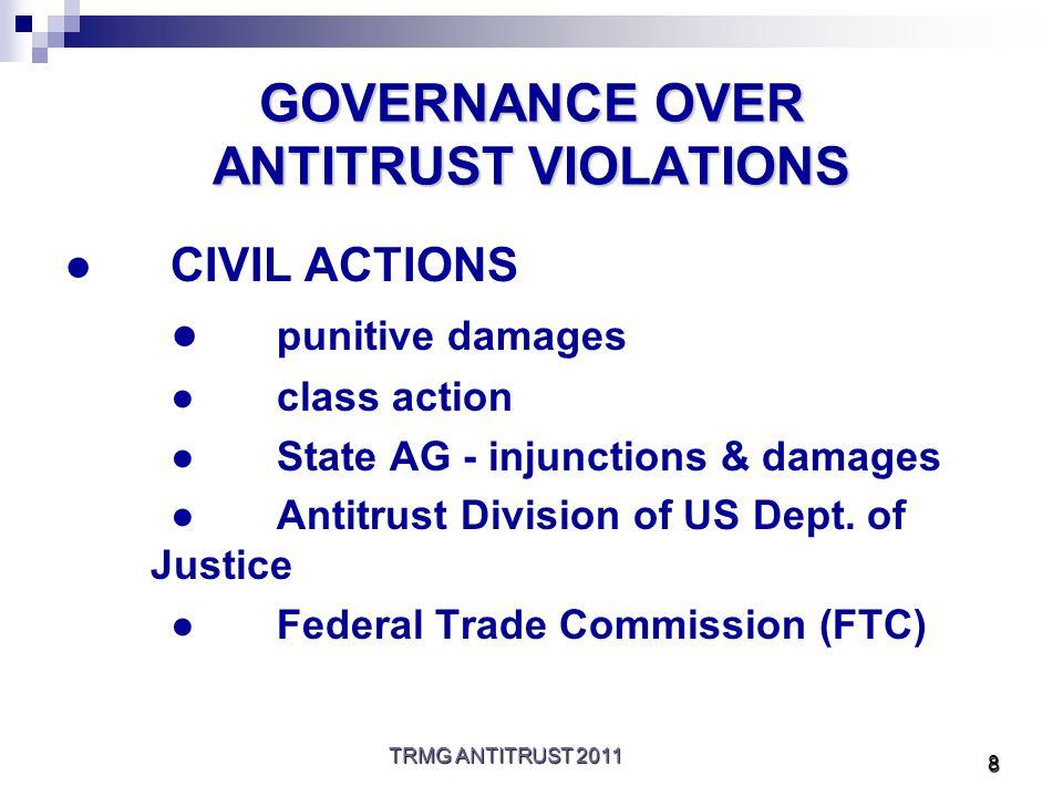 TRMG ANTITRUST 2011 9 GOVERNANCE (CONT'D) ●CRIMINAL ACTION ●Antitrust Div.