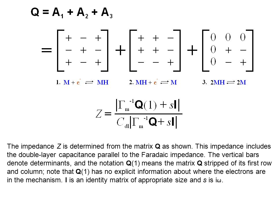 The impedance Z is determined from the matrix Q as shown.