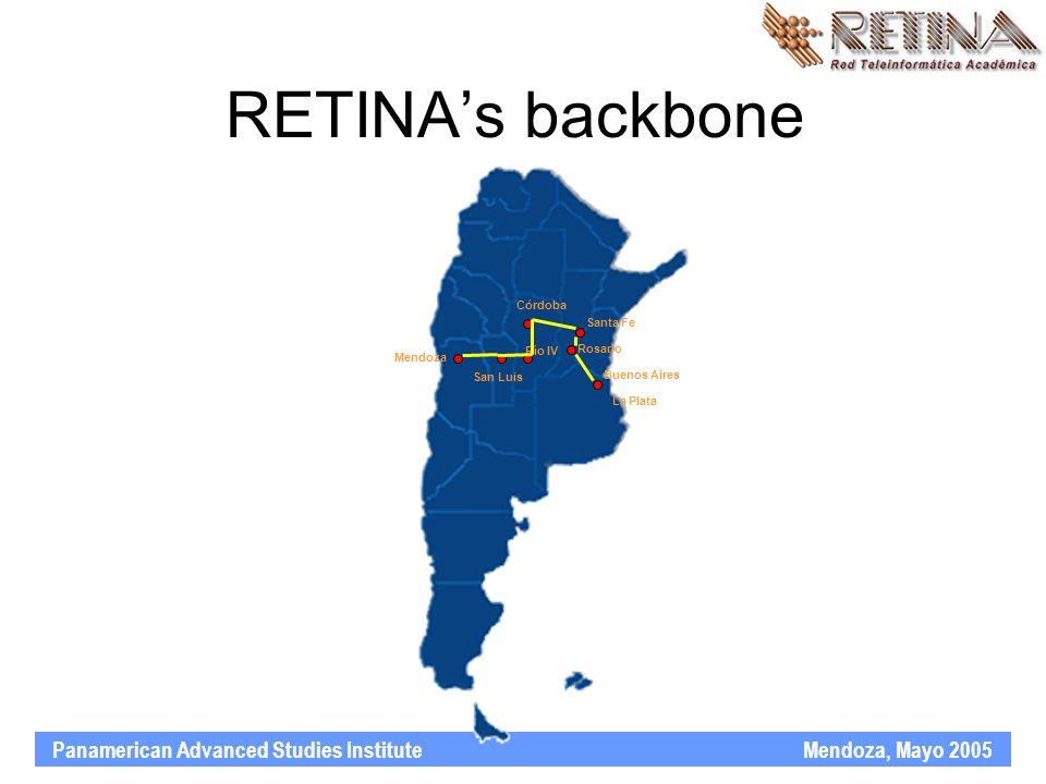 Panamerican Advanced Studies Institute Mendoza, Mayo 2005 RETINA's backbone Buenos Aires Santa Fe Rosario Córdoba Mendoza San Luis Río IV La Plata