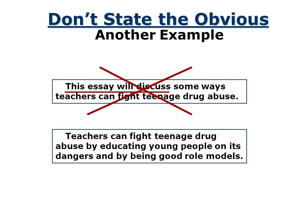 Key Features Don't State the Obvious In this essay, I am going to discuss the effects of long-term drug abuse.