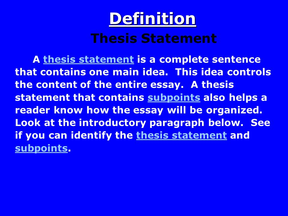 Introduction Thesis Statements After you have brainstormed and you have some main ideas of what you would like to write in your essay, you can begin thinking about writing a thesis statement.