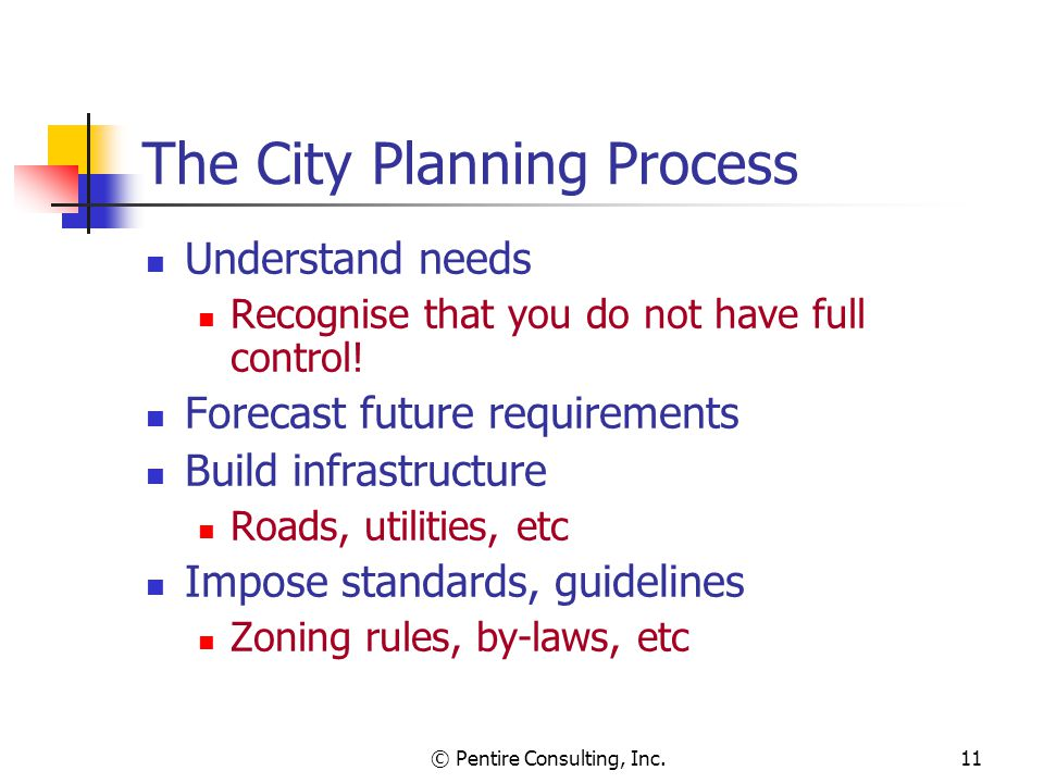 © Pentire Consulting, Inc.11 The City Planning Process Understand needs Recognise that you do not have full control! Forecast future requirements Buil