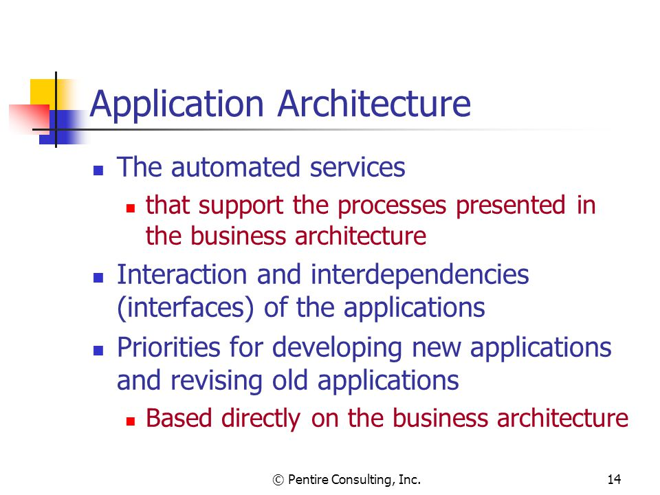 © Pentire Consulting, Inc.14 Application Architecture The automated services that support the processes presented in the business architecture Interaction and interdependencies (interfaces) of the applications Priorities for developing new applications and revising old applications Based directly on the business architecture