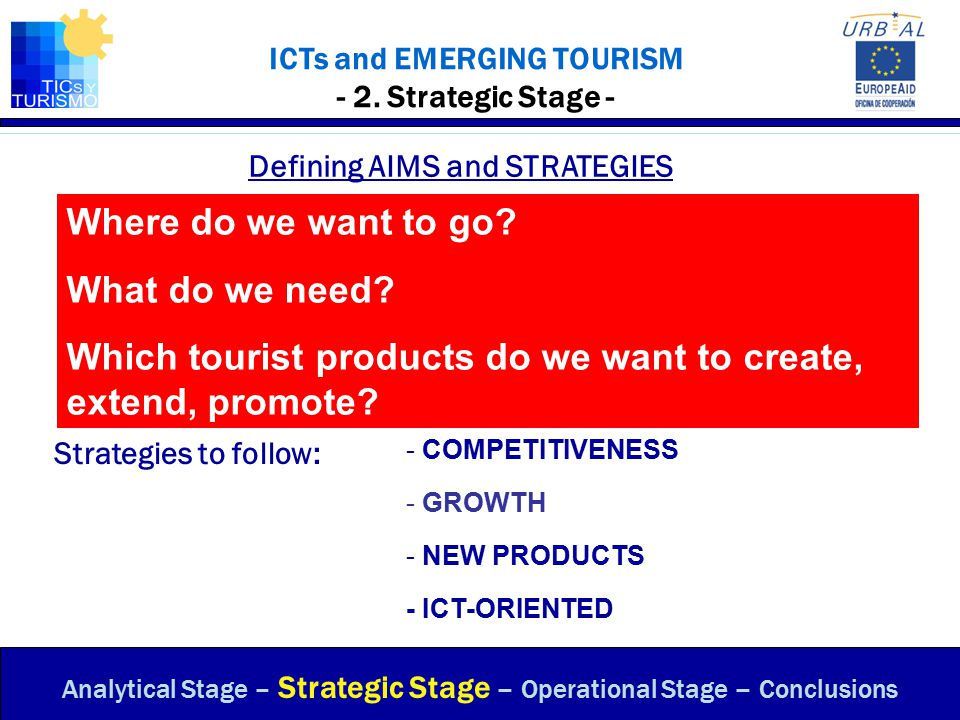 ICTs and EMERGING TOURISM - Sustainable Development of Tourist Destinations - www.ticsyturismo.com 2nd Step: Create a Tourist Product Must be capable of making people travel -- (Magnetism) To conduct leisure activities – (experiences which satisfy needs) Act on resources, infrastructures and facilities Create differences, competitive advantages -- (price, product, etc.) If possible, turn it into a unique destination Seek and promote the Power of attraction