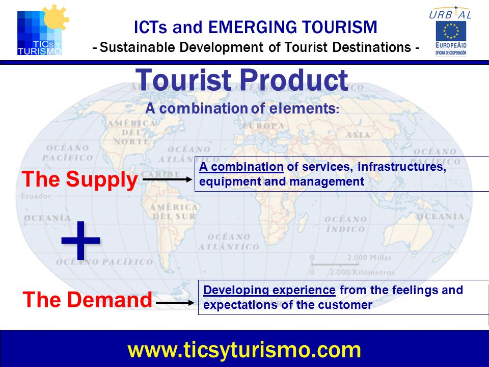 ICTs and EMERGING TOURISM - Sustainable Development of Tourist Destinations - Tourist Product A combination of elements : www.ticsyturismo.com The Sup
