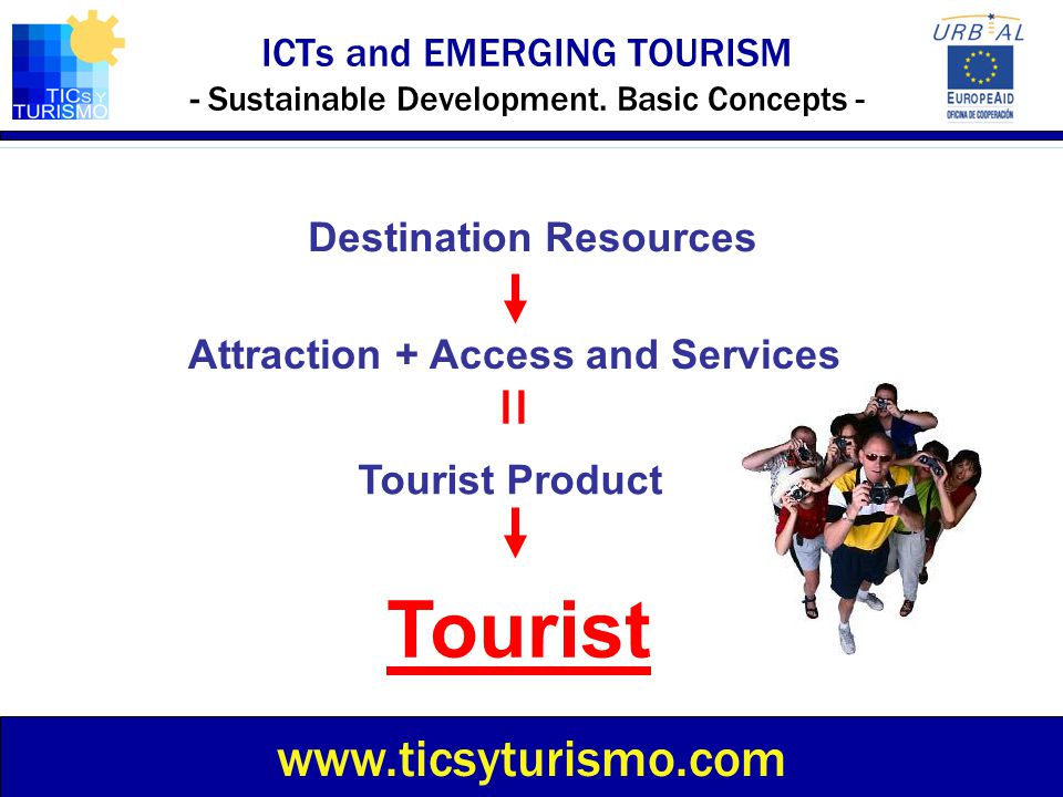 ICTs and EMERGING TOURISM - Sustainable Development. Basic Concepts - www.ticsyturismo.com Destination Resources Attraction + Access and Services Tour