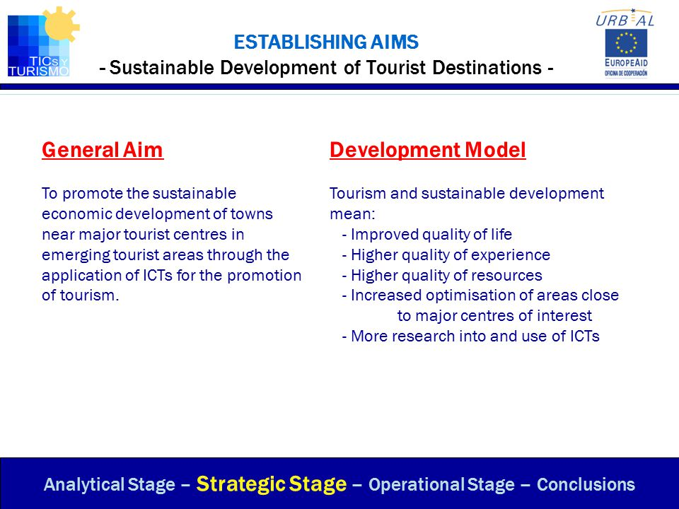ESTABLISHING AIMS - Sustainable Development of Tourist Destinations - Analytical Stage – Strategic Stage – Operational Stage – Conclusions General Aim