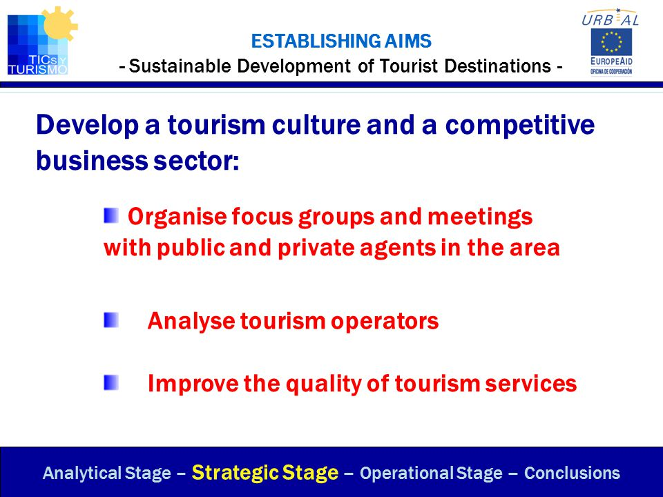 ESTABLISHING AIMS - Sustainable Development of Tourist Destinations - Analytical Stage – Strategic Stage – Operational Stage – Conclusions Develop a t