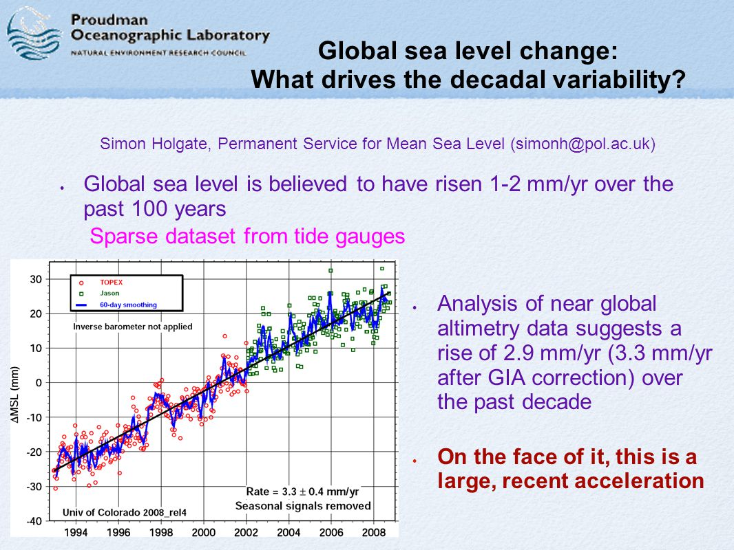 Global sea level change: What drives the decadal variability.
