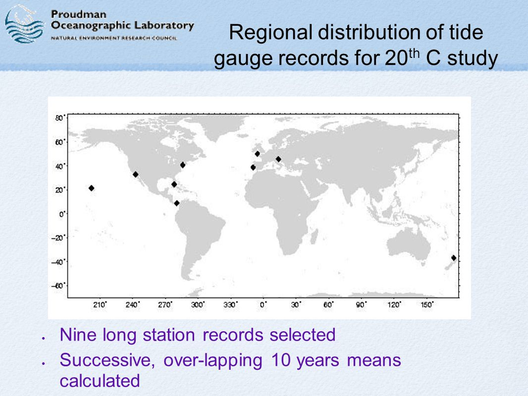Regional distribution of tide gauge records for 20 th C study Nine long station records selected Successive, over-lapping 10 years means calculated