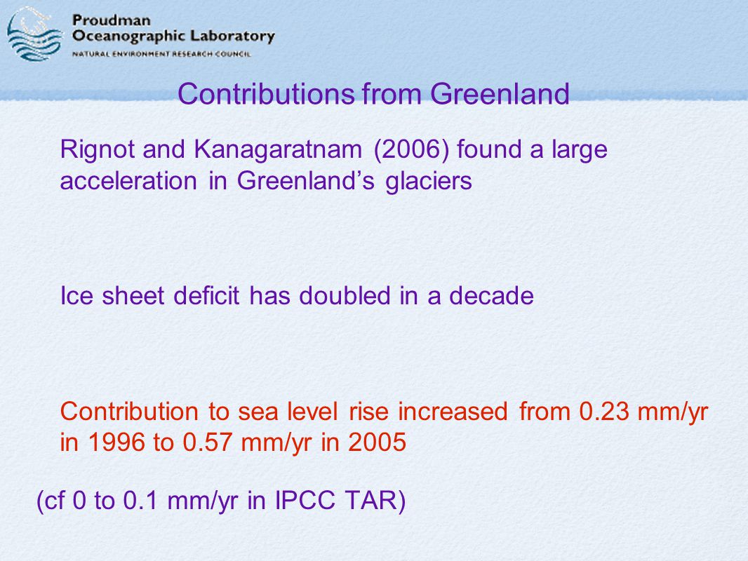 Contributions from Greenland ∉ Rignot and Kanagaratnam (2006) found a large acceleration in Greenland's glaciers ∉ Ice sheet deficit has doubled in a decade ∉ Contribution to sea level rise increased from 0.23 mm/yr in 1996 to 0.57 mm/yr in 2005 (cf 0 to 0.1 mm/yr in IPCC TAR)