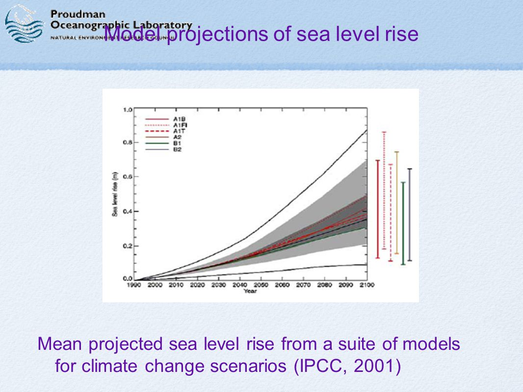 Model projections of sea level rise Mean projected sea level rise from a suite of models for climate change scenarios (IPCC, 2001)
