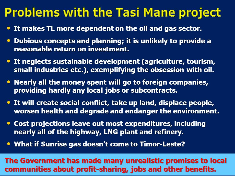 It makes TL more dependent on the oil and gas sector.