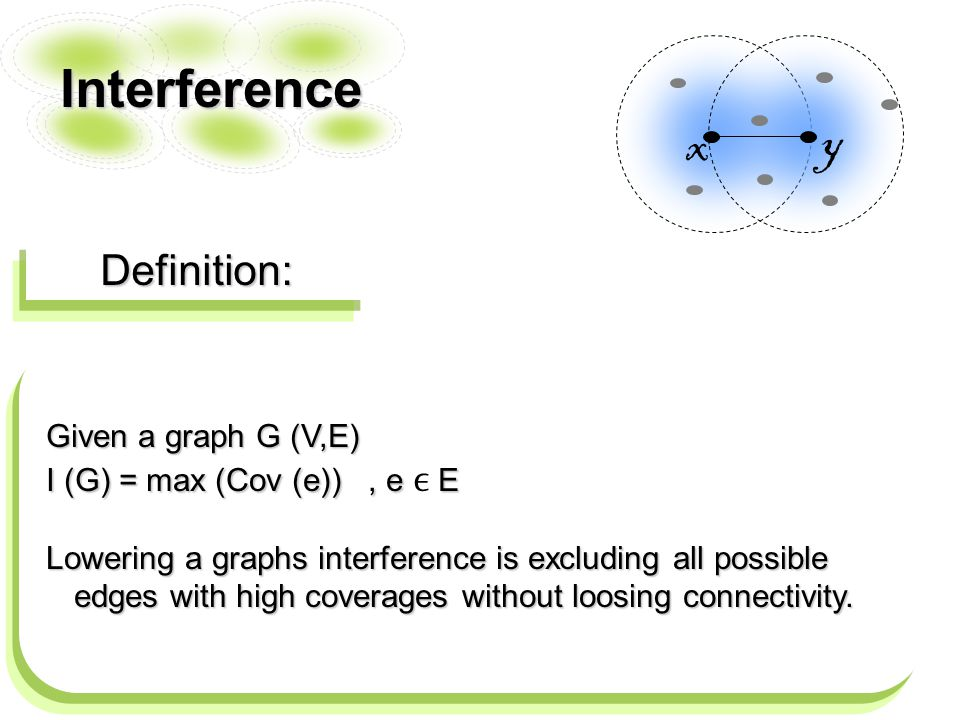 Interference Definition: x y Given a graph G (V,E) I (G) = max (Cov (e)), e E Lowering a graphs interference is excluding all possible edges with high coverages without loosing connectivity.