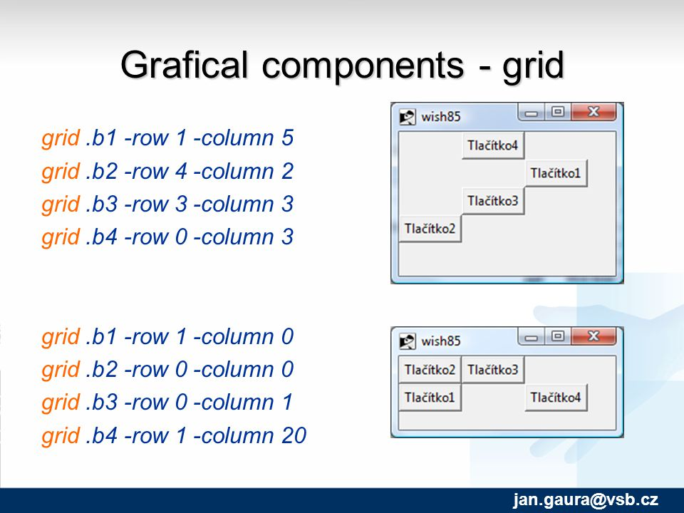 Grafical components - grid grid.b1 -row 1 -column 5 grid.b2 -row 4 -column 2 grid.b3 -row 3 -column 3 grid.b4 -row 0 -column 3 grid.b1 -row 1 -column 0 grid.b2 -row 0 -column 0 grid.b3 -row 0 -column 1 grid.b4 -row 1 -column 20 jan.gaura@vsb.cz