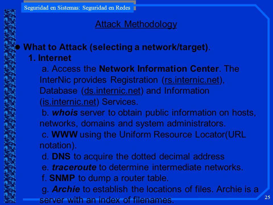 Seguridad en Sistemas: Seguridad en Redes 25 l What to Attack (selecting a network/target).