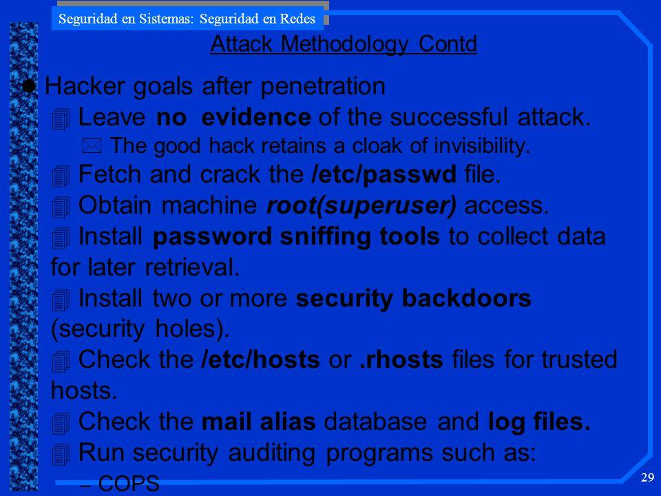 Seguridad en Sistemas: Seguridad en Redes 29 l Hacker goals after penetration 4 Leave no evidence of the successful attack.