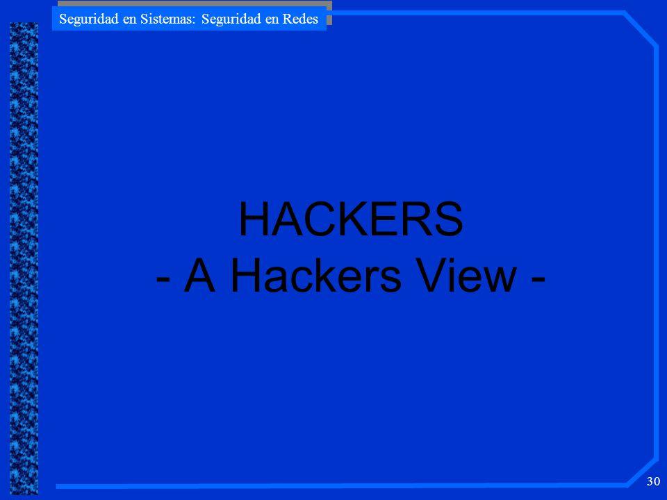 Seguridad en Sistemas: Seguridad en Redes 30 HACKERS - A Hackers View -