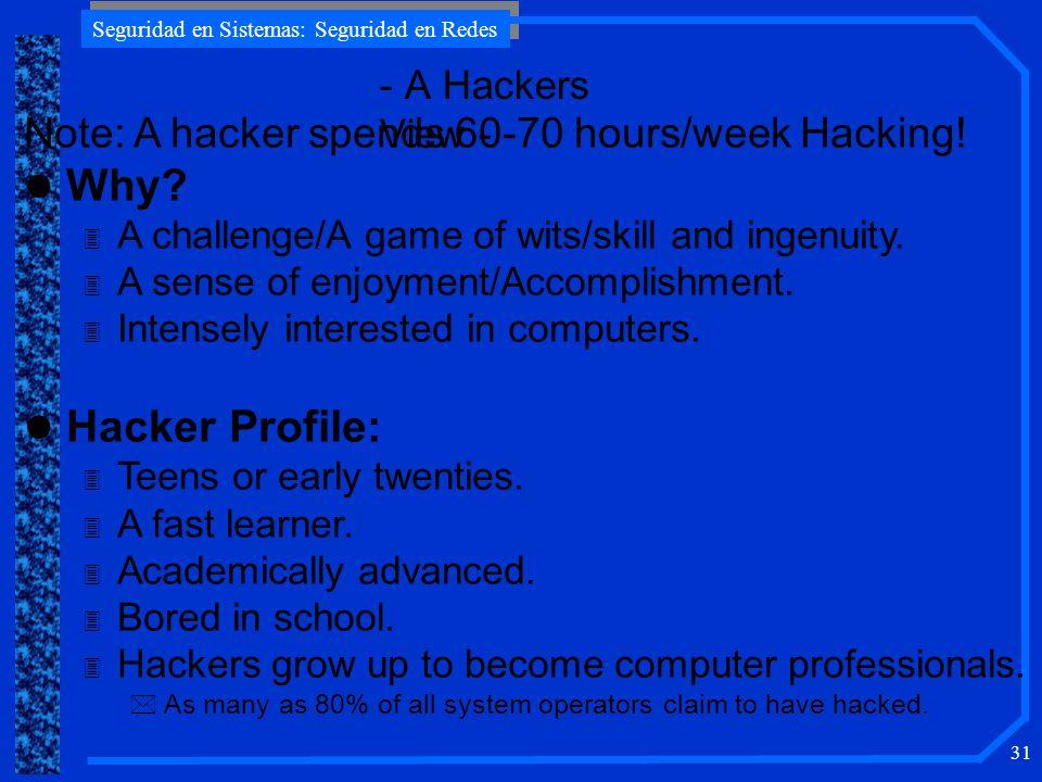 Seguridad en Sistemas: Seguridad en Redes 31 - A Hackers View - Note: A hacker spends 60-70 hours/week Hacking.