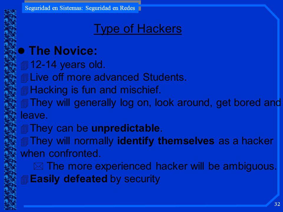 Seguridad en Sistemas: Seguridad en Redes 32 Type of Hackers l The Novice: 4 12-14 years old.