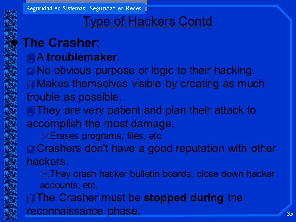 Seguridad en Sistemas: Seguridad en Redes 35 l The Crasher: 4 A troublemaker.