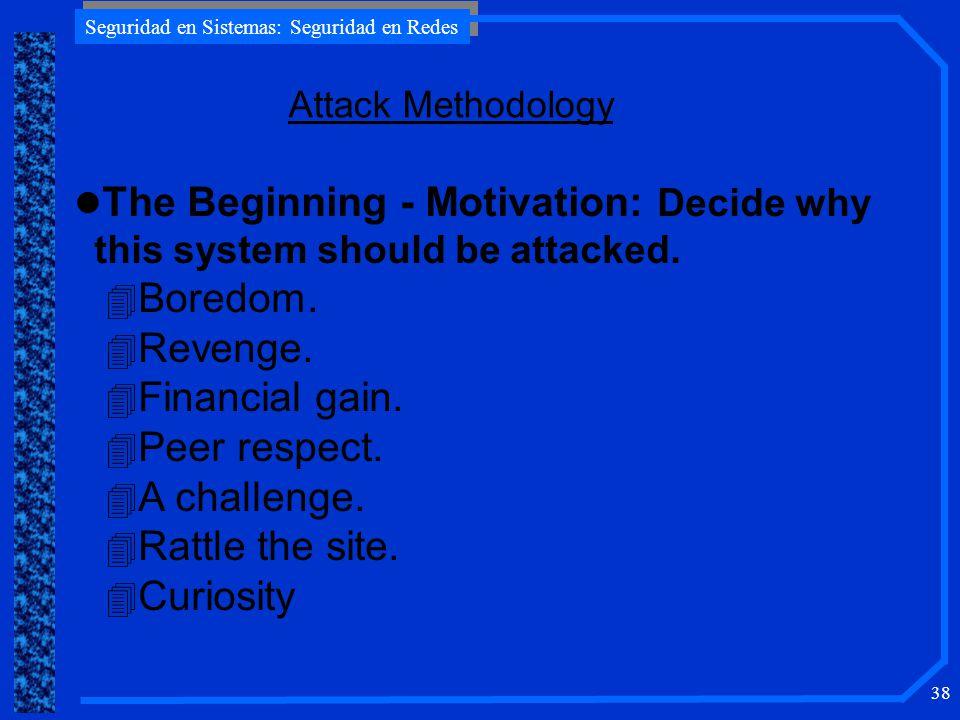 Seguridad en Sistemas: Seguridad en Redes 38 Attack Methodology l The Beginning - Motivation: Decide why this system should be attacked.