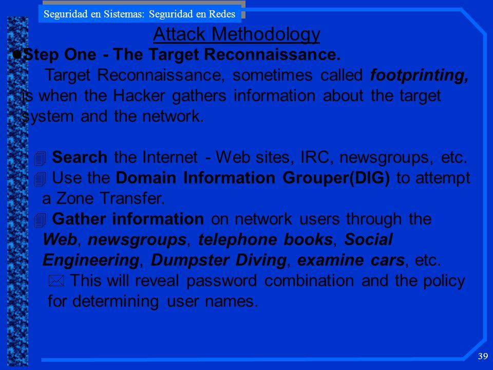 Seguridad en Sistemas: Seguridad en Redes 39 Attack Methodology l Step One - The Target Reconnaissance.