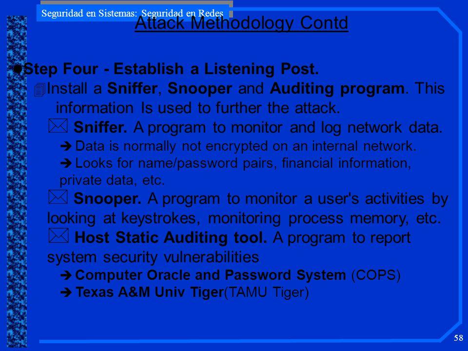Seguridad en Sistemas: Seguridad en Redes 58 l Step Four - Establish a Listening Post.