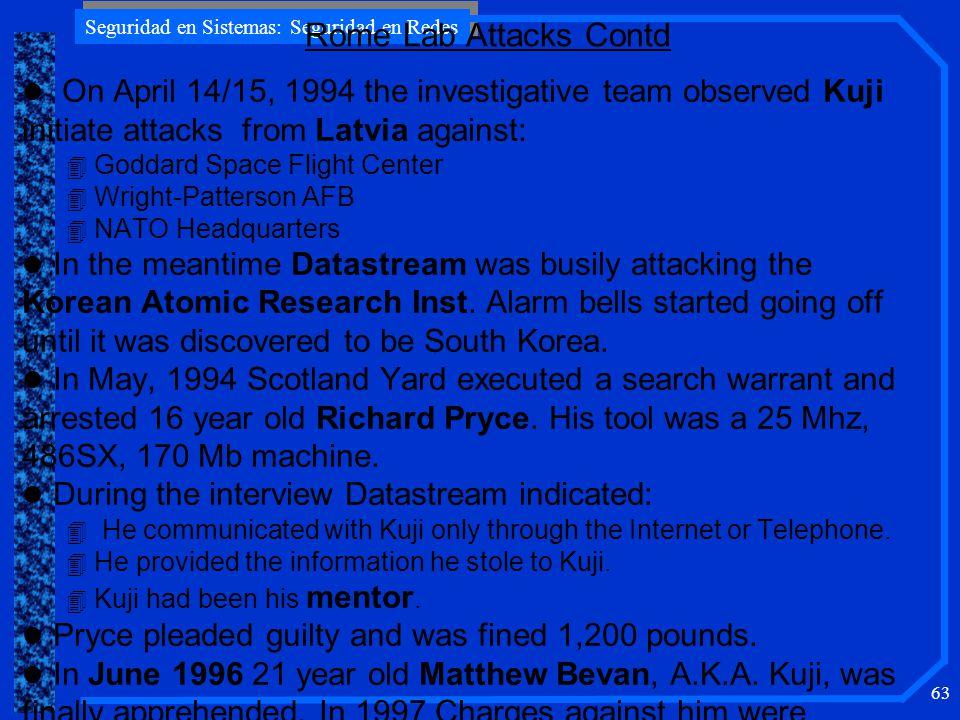 Seguridad en Sistemas: Seguridad en Redes 63 l On April 14/15, 1994 the investigative team observed Kuji initiate attacks from Latvia against: 4 Godda