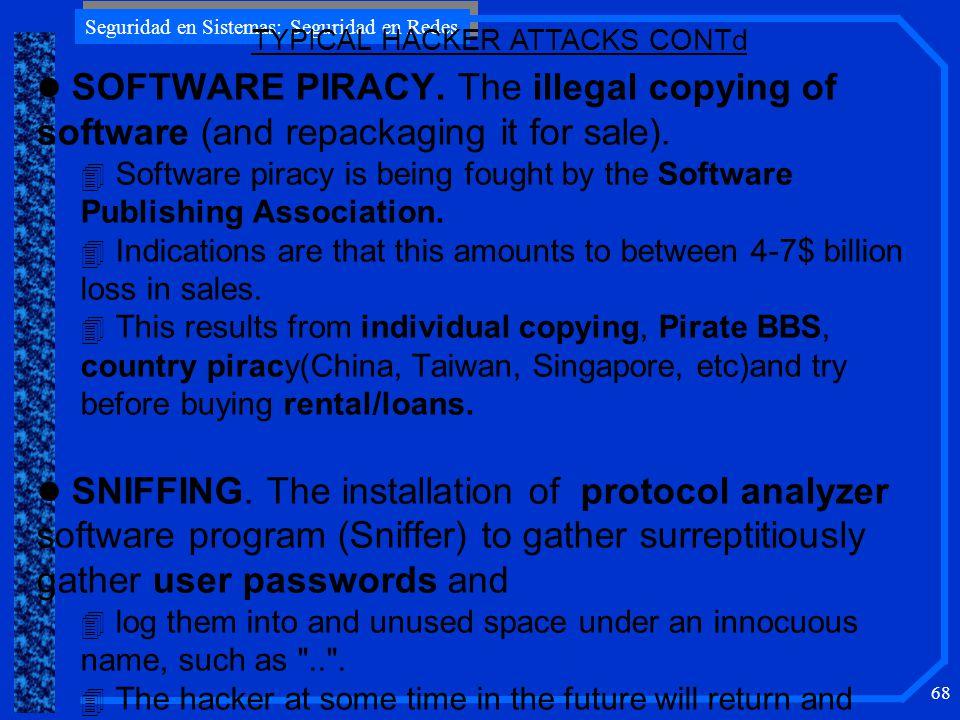 Seguridad en Sistemas: Seguridad en Redes 68 l SOFTWARE PIRACY.