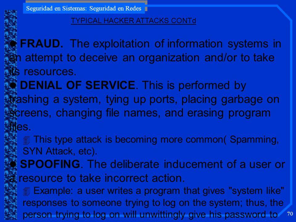 Seguridad en Sistemas: Seguridad en Redes 70 l FRAUD.