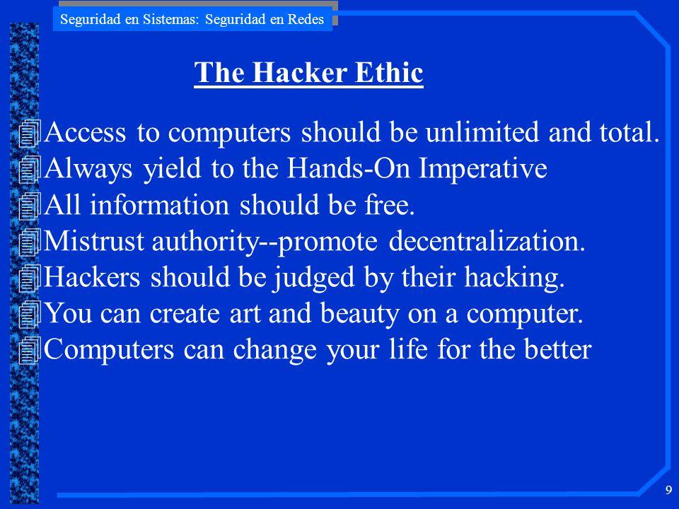 Seguridad en Sistemas: Seguridad en Redes 9 4Access to computers should be unlimited and total.